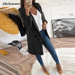 2018 nowy kobiety z długim rękawem skręcić w dół kołnierz zużyta kurtka wełna mieszanka płaszcz Casual jesień zima elegancki płaszcz luźne Plus rozmiar 3