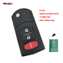 PREISEI 3 Button 315MHZ 4D63 80Bit Chip Folding Flip Remote Car Key For Mazda 3 6 MX-5 Miata FCC ID: BGBX1T478SKE125-01