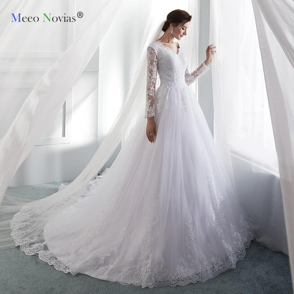 MN819002 New Romantic Elegant Princess Wedding Dress 2019 V neck Long Sleeves Bride Dresses Wedding Ball
