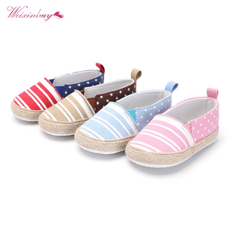 Newborn Baby Shoes Moccasins Unisex Shallow Striped Baby Shoes First Walkers Toddler Shoes Girls Boys Little Star 3Styles