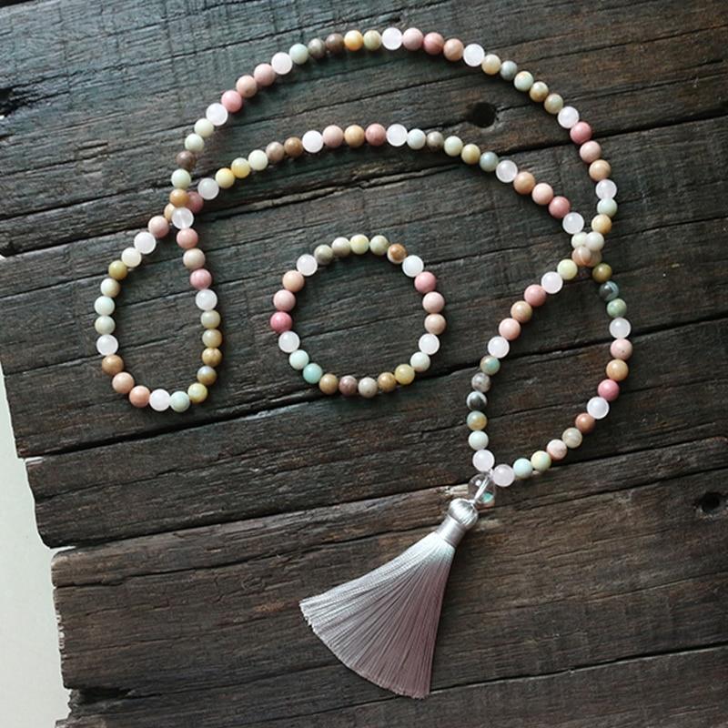 Mala Beads Spiritual Jewelry Rose Quartz Necklace Amazonite 108 Beaded Necklace 108 Mala Open Heart Mala Mala Necklace Gemstone Mala
