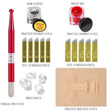 Permanent Makeup Tattoo Practice Kit Microblading Pen Practice Skin Tattoo Needle Practice Ink Micropigmentation Tattoo Supplies