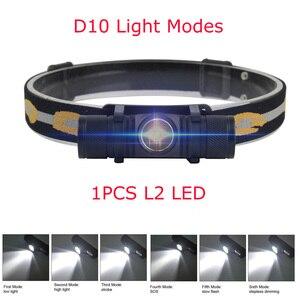 BORUiT XM-L2 LED Mini Headlamp High Power 1000lm Headlamp 18650 Rechargeable Head Torch Camping Hunting Waterproof Flashlight
