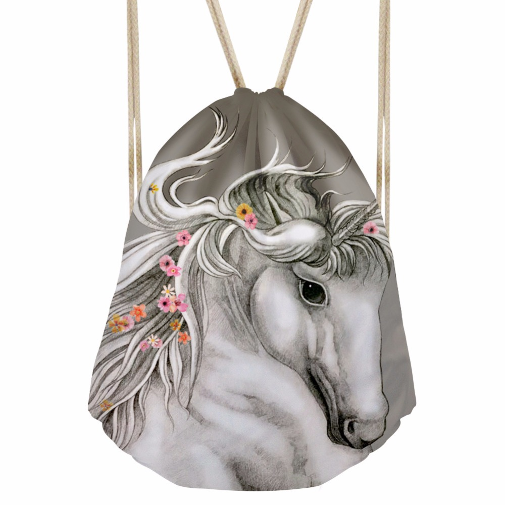 FORUDESIGNS Horse Drawstring Bag Women Backpacks Travel Corn Animal Daypack 3D Printing Girls Boys Softback Mochila Beach Bags
