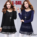 2015new spring summer model women long sleeve lace shirt crochet tops with lining O neck casual elegant ladies plus size XXXXXL
