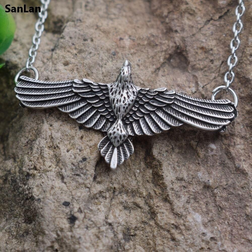 SanLan 1pcs Flying CROW Tin Pendant Necklace Jewel celtas Raven Corbie Charm Pewter Pagan Vikings Norse Animal