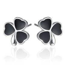 Promotion 30% silver plated black love flower ladies`stud earrings jewelry Anti allergy wholesale drop shipping female women