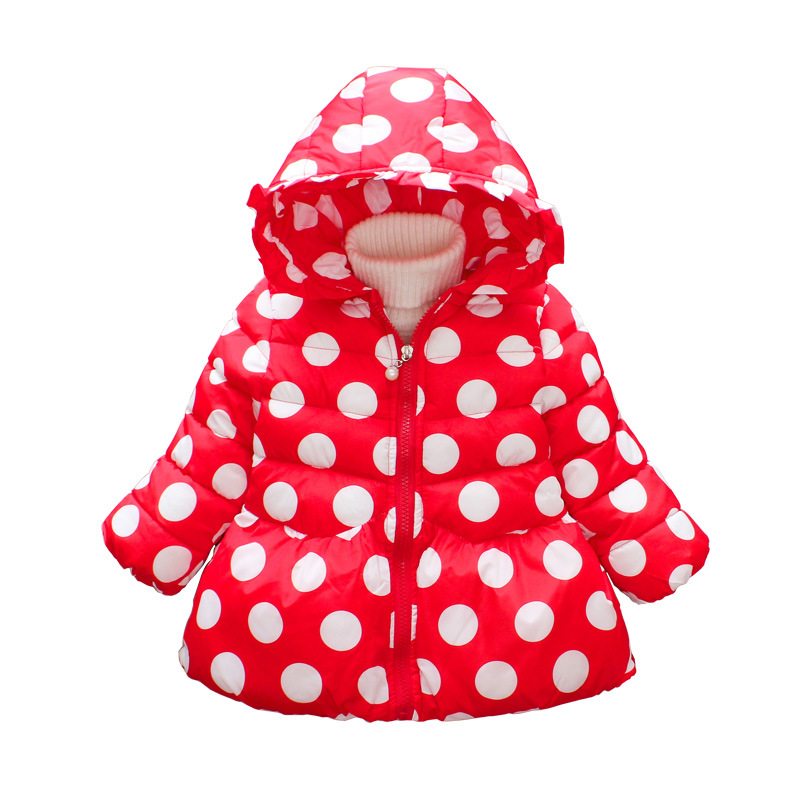 12M-4T Baby Parkas Baby Girl Clothes Keep Warm Thickening Hooded Cute Dot Cotton Coat Baby Girl Parkas Winter Baby Clothes children winter coats jacket baby boys warm outerwear thickening outdoors kids snow proof coat parkas cotton padded clothes
