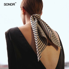SONDR The new spring 2019 100% silk stripes printed crepe DE chine scarf hair band bags decorative scarves