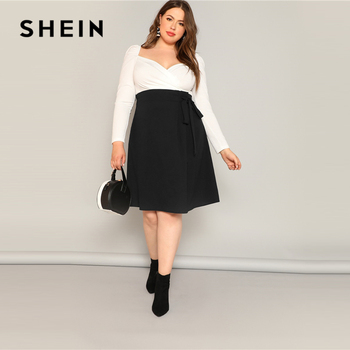 SHEIN Plus Size Black High Waist Tie Side Skirt 2019 Women Spring Knee Length Solid Casual A Line Big Size Skirts With Belt