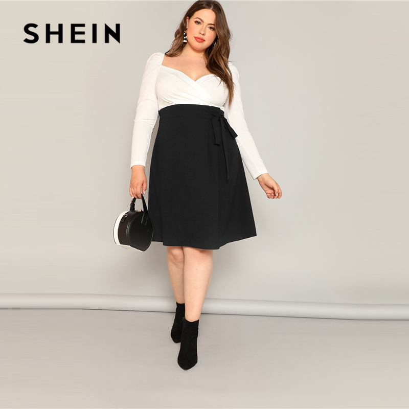 SHEIN Plus Size Black High Waist Tie Side Skirt 2019 Women Spring Knee Length Solid Casual A Line Big Size Skirts With Belt-in Skirts from Women's Clothing