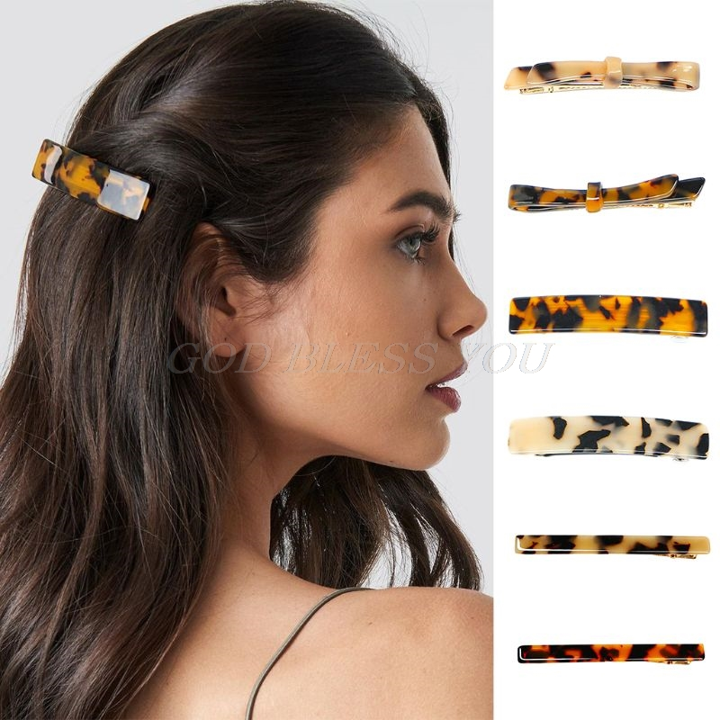 Women Girls Acetic Acid Geometric French Hair Clips Vintage Tortie Leopard Bowknot Rectangle Pigtail Spring Hairgrips Metallic