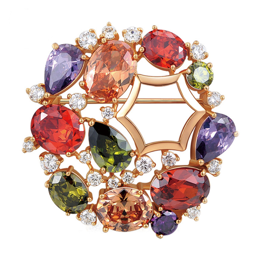 Fashion Mona Lisa Multicolor Cubic Zircon Crystal Brooch for Women Rose Gold-Color Brooch Bridal Wedding Party Jewelry Gift charming crystal gold rose brooch