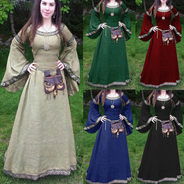 c31bf49a93b9a Women 2018 Fashion Long Sleeve Dress Medieval Renaissance Vintage Bandage  Lady Peasant Dresses Long Sleeve Girl Dress 5xl