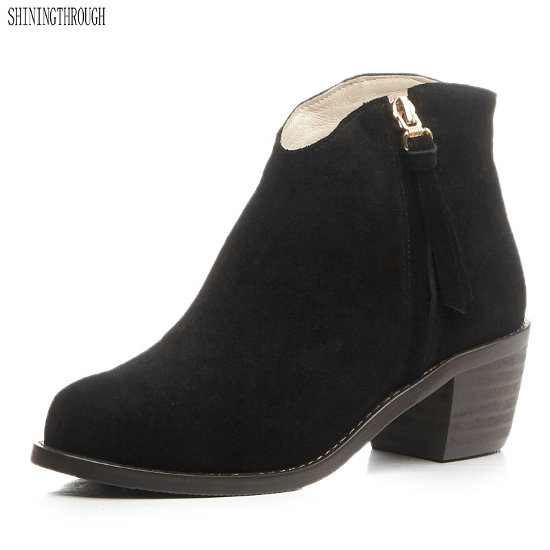 SHININGTHROUGH round toe genuine leather solid nude women ankle boots thick heel brand women shoes causal motorcycles boots
