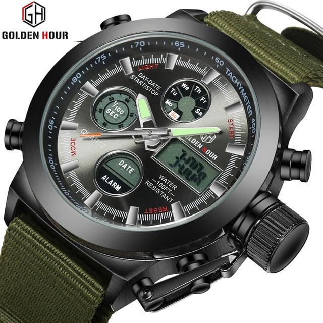 Fashion Army Cool Men Military Watch Canvas Strap Hours Steel Case 3 ATM Waterproof  Sports  LED Digital Analog Quartz Clock