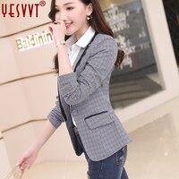 Plus Size Casual Slim Women Plaid Jacket Blazer Female Business Suit Female Jackets Elegant Bleiser Mujer