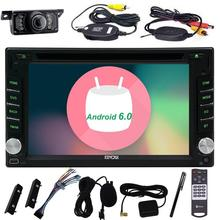 Android 6.0 GPS Navigation Radio Bluetooth Autoradio Double 2Din In Dash Video Car Auto DVD Player Stereo Head Unit+Rear Camera