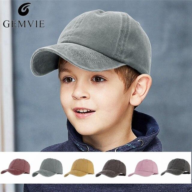 US $4 86 19% OFF|Kids Hats Canvas Baseball Cap Boys Girls Street Fashion  Baseball Hat Solid Color Denim Visor Cap Sport Sunhat Peak Cap-in Baseball