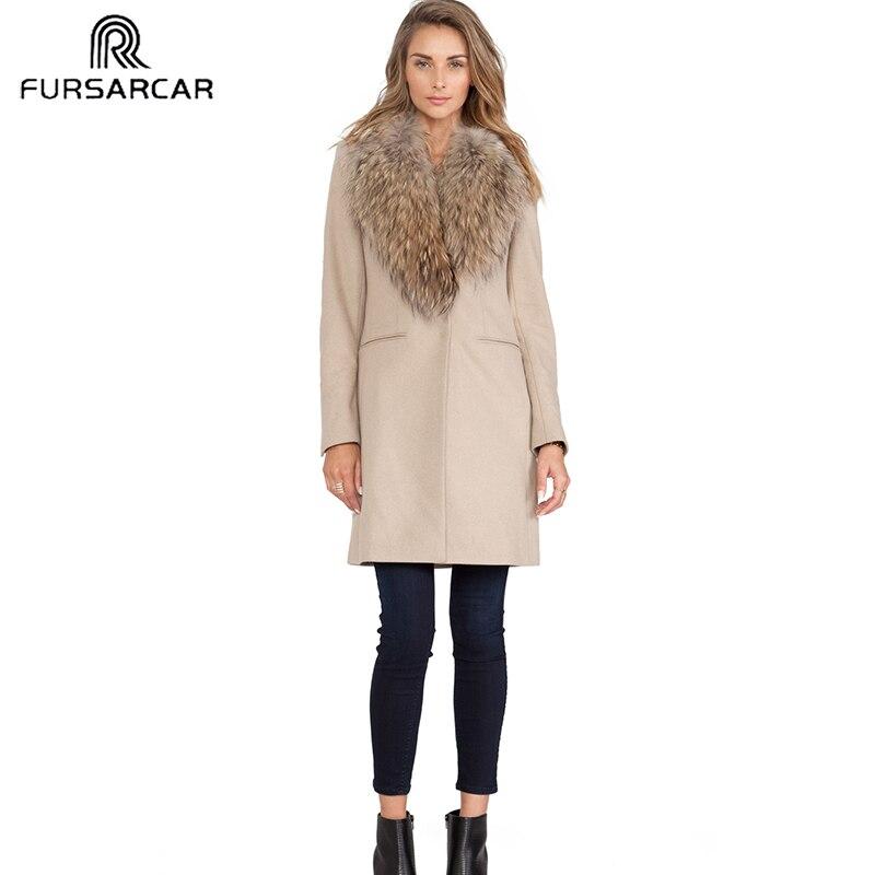 FURSARCAR 2019 New Solid Women Real Fur Coat Luxury Sheepskin Coat With Raccoon Fur Collar And Cuff Winter Fashion Wool Fur Coat
