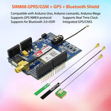 High Quality ! SIM808 GPRS/GSM+GPS Shield 2 in 1 Shield GSM GPRS GPS Development Board for Arduino Raspberry Pi sim808 instead of sim908 module gsm gprs gps positioning sms data transmission