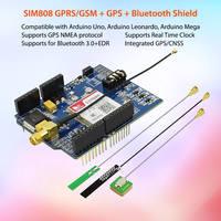 Elecrow SIM808 Bluetooth GSM GPS Shield for Arduino SIMCOM Quad Band Sim808 GSM/GPS/BT Module 3 in 1 Developed Board 3 Antennas