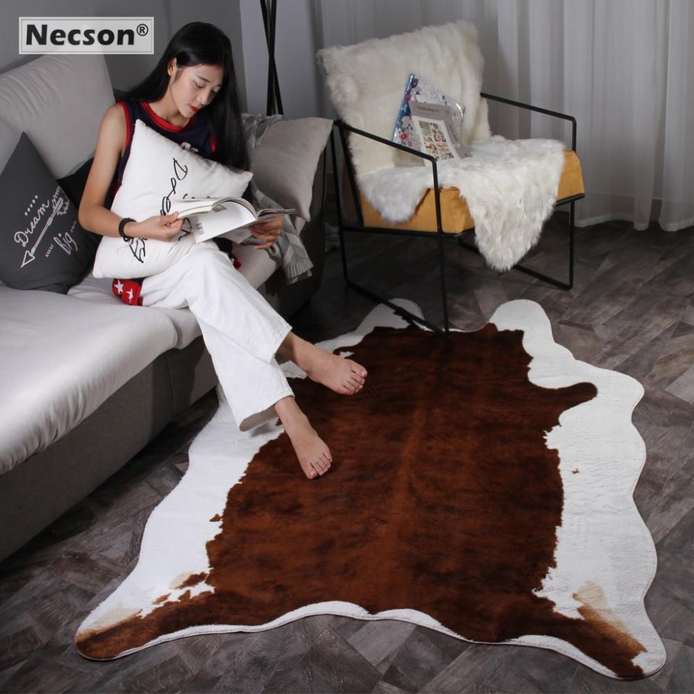 Cowhide Rug Brown White Imitation Faxu Skin Fur Carpets Artificial Velvet Mat For Living Room Bedroom Non-slip Natural Shape K26