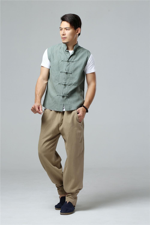 LZJN 2019 Men's Summer Waistcoat Chinese Style Vintage Breathable Linen Button Down Kung Fu Shirt Sleeveless Vest Jacket  (30)