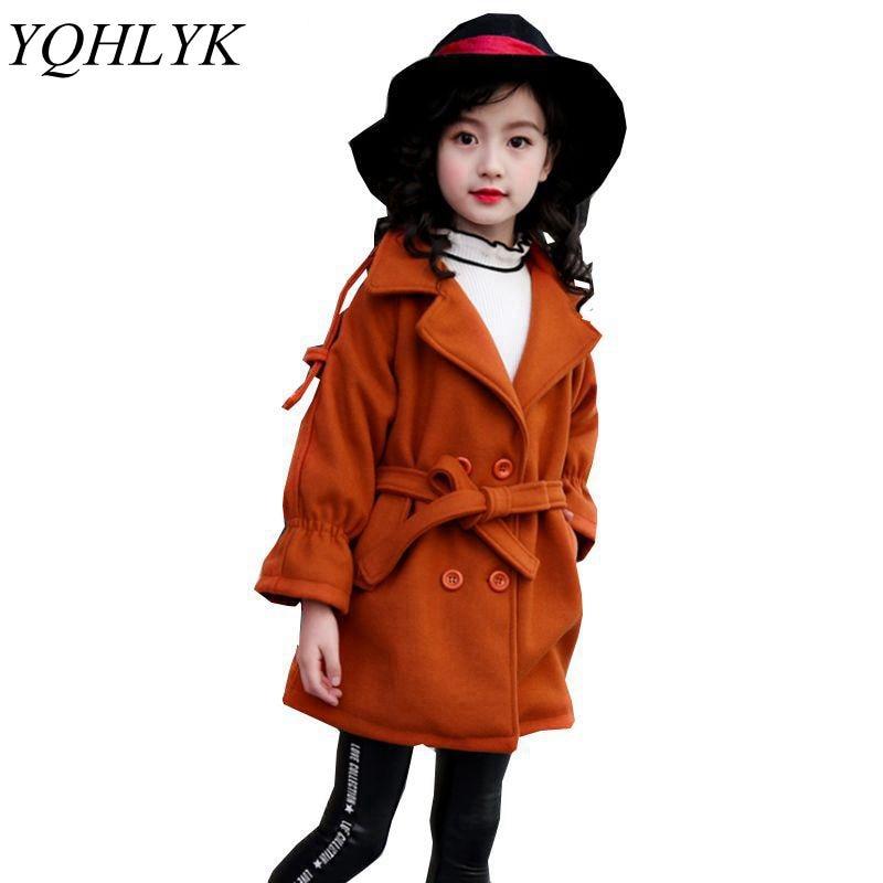 New Fashion Autumn Winter Girls Coat 2018 Korean Children Lapel Slim Atmosphere Woolen Overcoat Sweet Joker Kids Clothes W152 вытяжка gorenje whc923e16x