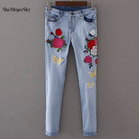 Embroidered Jeans Women 2017 Skinny Jeans With High Waist Floral Embroidery Denim Trousers Fashion Summer Pencil
