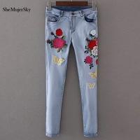 Shemujersky Bestickte Jeans Frauen 2017 Dünne Jeans mit Hoher Taille Floral Stickerei Denim-hosen Sommer Zeichnen Hosen