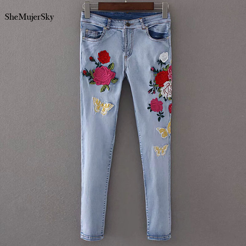Shemujersky Embroidered Jeans Women 2017 Skinny Jeans with High Waist Floral Embroidery Denim Trousers Summer Pencil Pants