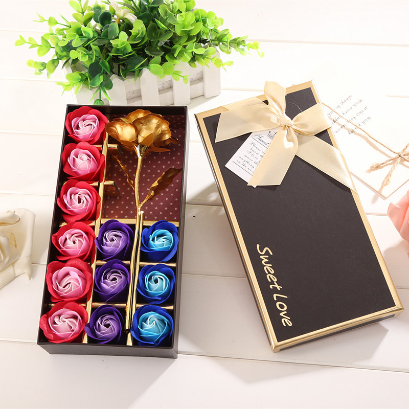 Flowers Litter-Bear Gold Rose Wedding-Gifts Creative Soap with Love 12pcs Gift-Box Foil