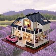 SLPF DIY Doll Houses Wooden Mini Villa Model Building Children Toys Furniture Miniature Crafts Kids Birthday Gifts Girl New J13