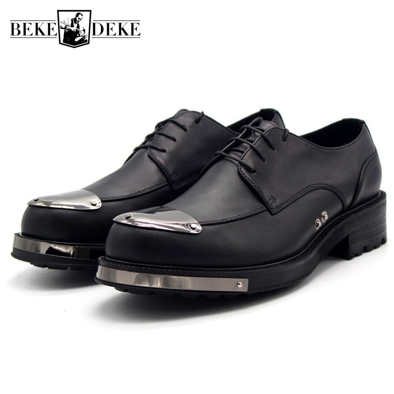 Top Quality Leather Shoes Men Height Increasing Platform Derby Handmade Casual Mens Formal Shoes Business Office Shoes Plus Size