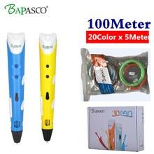 BAPASCO 3d pen 3d pens Add 100M 20Color abs filament 3d print pen 3 d pen