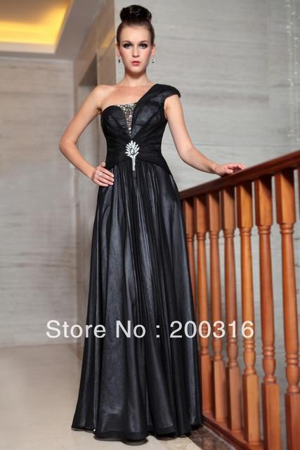 New arrival black dresses evening one shoulder embedded mesh beading formal evening dresses Free Shipping 2013 new evening dress