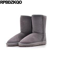 Обувь на плоской подошве; большие размеры; Дизайнерские повседневные ботинки без застежки; мужские зимние ботинки; теплые зимние ботинки из искусственного меха в австралийском стиле; Зимние Замшевые ботинки
