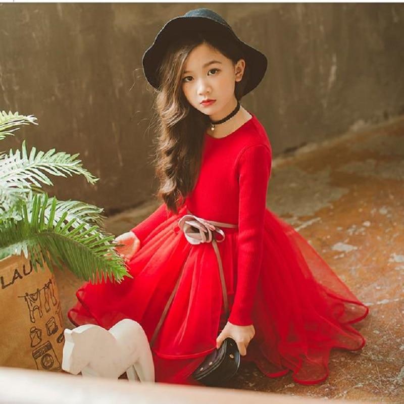 NICBUY 2018 fashion Girl's autumn winter princess dress children's round neck knit sweater dress.red purple white casual round neck ruffled dress