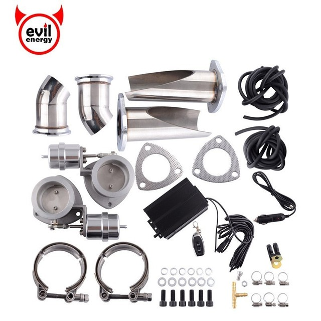 evil energy Stainless Steel 2.5'' Exhaust Cutout Be Cut Pipe Catback Vacuum Valve Electric Cut Out Tip Muffler Kits