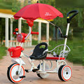 2016 novo estilo agradável bebê gêmeos carrinho de bebê andador para 2-6years moda engrossar estrutura de aço venda quente gêmeos do bebê triciclo andador walker