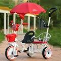 2016 nuevo estilo niza twins andador para 2-6years bebé moda espesar de tres ruedas andador marco de acero de la venta caliente bebé gemelos walker