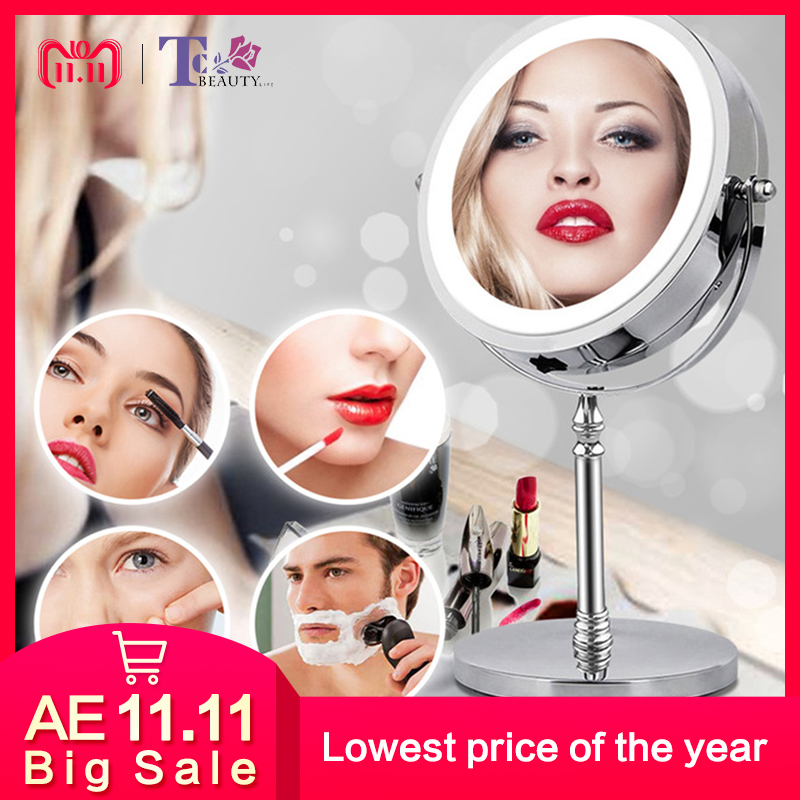 10 X Magnifying Makeup Mirror With Light LED Mirror 360 Degree Rotating Round Shape Mirror Desktop With Backlight Double Sided nyx professional makeup двустороннее зеркало dual sided compact mirror 03