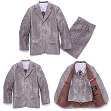 2015 Fall Blazers jackets set for Baby boys Formal suit Children Gold stripe Wedding clothes Kids suits Boys Lounge suit