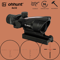 ohhunt Hunting 4X32 Real Fiber Optics Scope BDC Chevron Horseshoe Reticle Tactical Optical Sights for cal .223 .308 Print LOGO