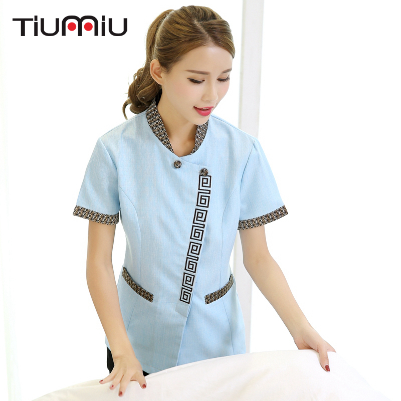 2018 New Arrival Short-sleeve Waiter Uniform Summer Cleaning Work Uniform Clean Room Waiter Women Clean Uniform Plus Size Jacket