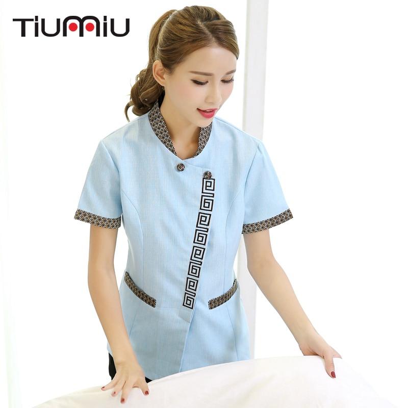 2018 New Arrival Short-sleeve Waiter Uniform Summer Cleaning Work Uniform Clean Room Waiter Women Clean Uniform Plus Size Jacket