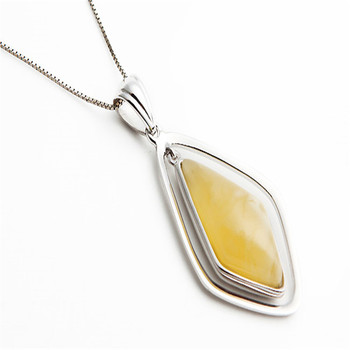 2018 Newly Thai Silver Yellow Stone Pendant Drop Shipping Fashion Women Men Thai Silver Stone Pendant Necklet 27.5*17.5*6mm