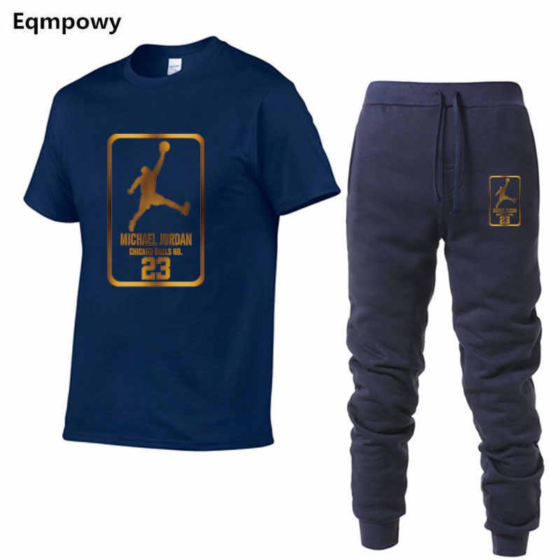 Мужские комплекты футболки + штаны комплекты из двух предметов повседневный спортивный костюм мужской/женский костюм топы с принтом + брюки тренажерные залы Фитнес Брюки