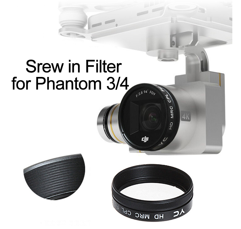 Screw on UV CPL ND2-400 ND8 ND16 Lens Filter for DJI Phantom 3 Adv Pro Phantom 4 3A 3P Drone Camera Lens Filters